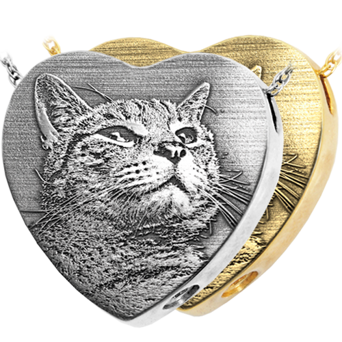 heart pendant engraved with custom pet photo