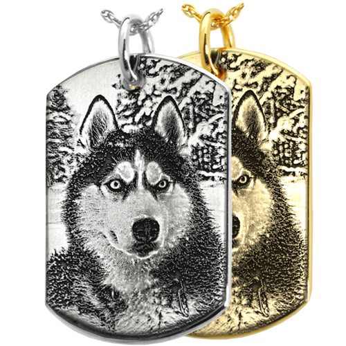 Dog Tag engraved with custom photo of your pet