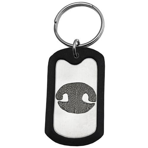 Rubber silencer shown with Stainless Steel Dog Tag Noseprint key ring