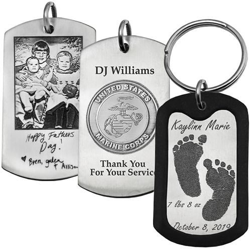 Men's Keepsake XL Dog Tag personalized samples