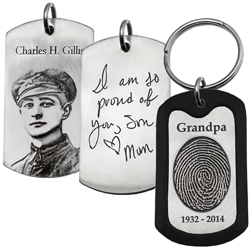 Men's Memorial XL Dog Tag personalized samples