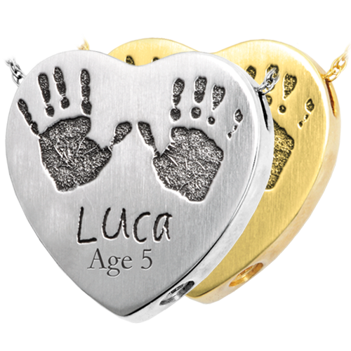 Wholesale Baby Handprints with Name + Age on Heart Jewelry in silver & gold