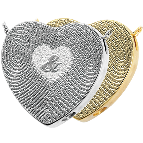 Wholesale 3D Duo Fingerprints Ampersand compartment style in silver or gold