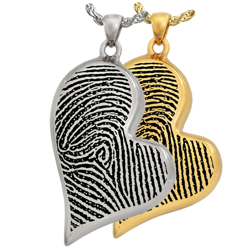 Wholesale Teardrop Heart Full-coverage Fingerprint Jewelry in silver & gold