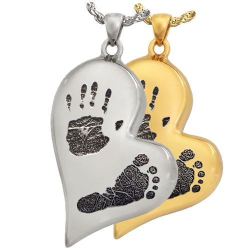 Teardrop Heart Handprint + Footprint Jewelry shown in silver and gold