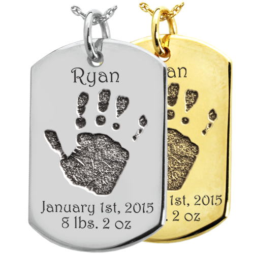 Wholesale Baby Hand-Print on Dog Tag Flat Charm in silver or gold