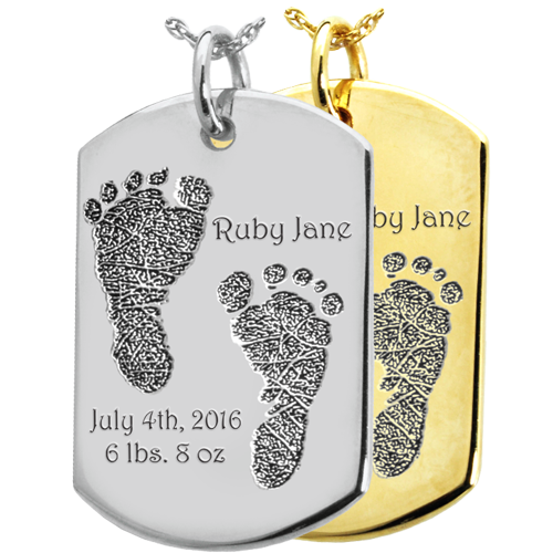 Wholesale Baby 2 Footprints on Dog Tag Flat Charm in silver or gold
