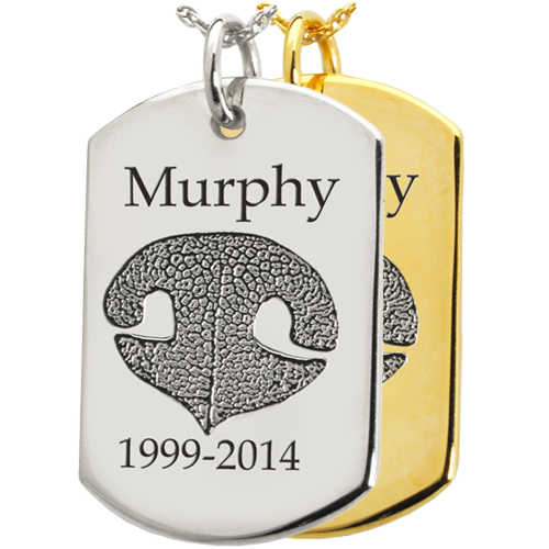 Flat Dog Tag Noseprint Jewelry shown in silver and gold engraved with name