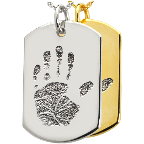 Wholesale B&B Flat Dog Tag Handprint Jewelry shown in silver and gold