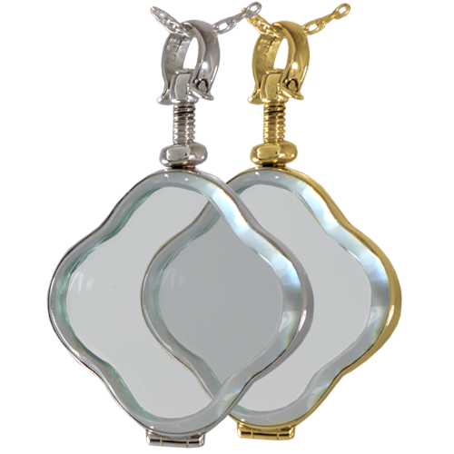 Victorian Glass Clover Locket shown in silver and gold