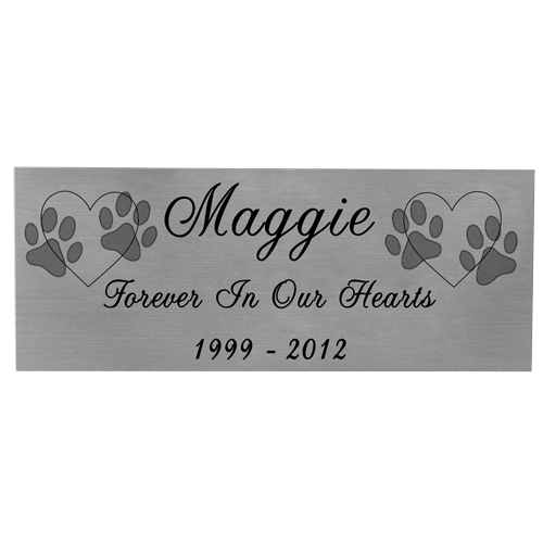 Wholesale Engraved Pet Memorial Plaque- Small Silver Finish Black Fill