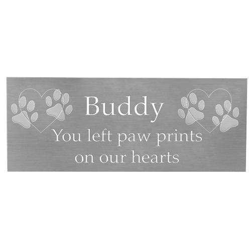 Wholesale Engraved Pet Memorial Plaque- Small Silver Finish block