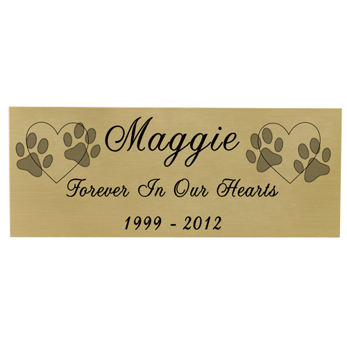 Wholesale Engraved Pet Memorial Plaque- Small Brass Finish script