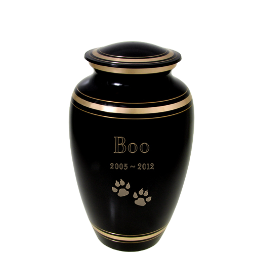 Wholesale Black Gold Cat Urn shown with text + clip art engraving