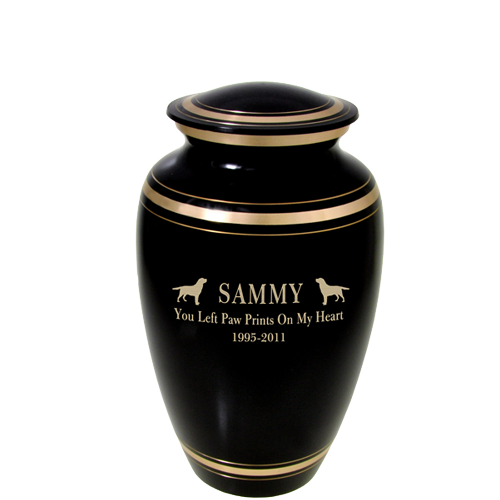 Wholesale Black Gold Dog Urn shown with text + clip art engraving