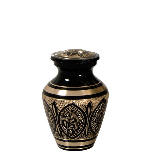Wholesale Cremation Keepsake: Ornate Etched Black and Brass