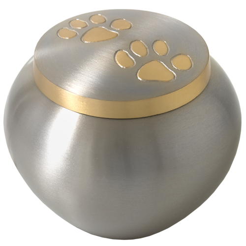 Wholesale Cat Cremation Urns Golden Pawprints Metal Grey