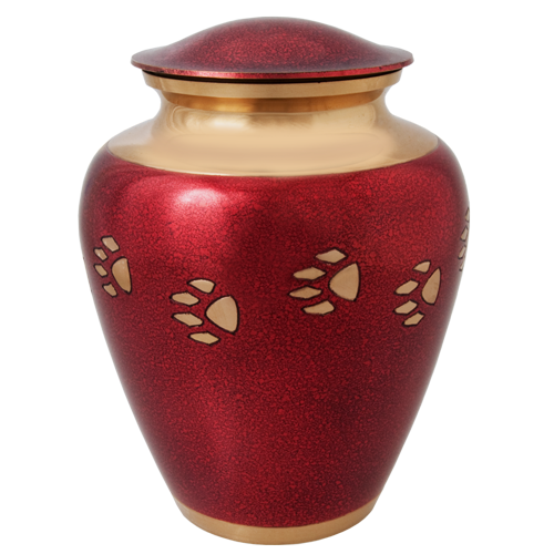 Dog Cremation Urn: Red Brass with Pawprint, Large