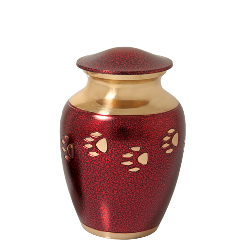 Wholesale Pet Urns: Red with Brass Cat Pawprint