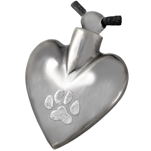 Wholesale Pet Cremation Jewelry: Nickel Heart Pawprint