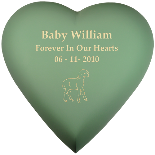 Wholesale Baby Urn: Brass Heart Sage shown with lamb engraving