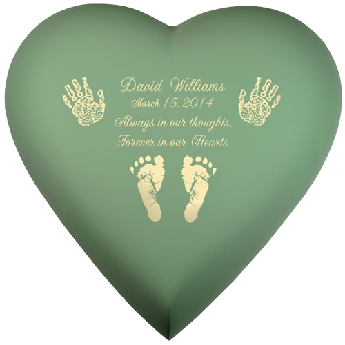 Wholesale Baby Urn: Brass Heart Sage- Actual Hands or Feet Prints Option