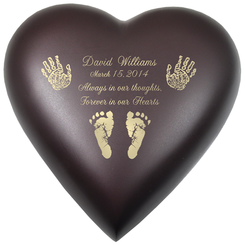 Wholesale Baby Urn: Brass Heart Espresso- Actual Hands or Feet Prints Optio