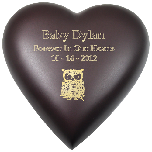 Wholesale Baby Urn: Brass Heart Espresso shown with owl engraving