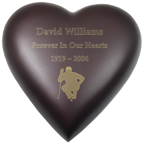 Wholesale Urn Keepsake: Brass Heart Espresso shown with golfer engraving