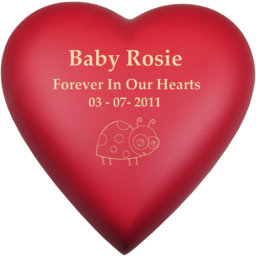 Wholesale Baby Urn: Brass Heart Scarlet shown with ladybug engraving