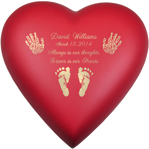 Wholesale Baby Urn: Brass Heart Scarlet- Actual Hands or Feet Prints Option