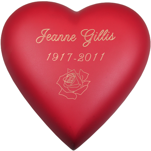 Wholesale Urn Keepsake: Brass Heart Scarlet shown engraved