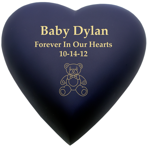 baby urn brass heart in blue nightfall with text and clip art engraving