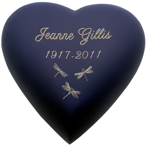 Wholesale Urn Keepsake: Brass Heart Blue shown with dragonfies engraving
