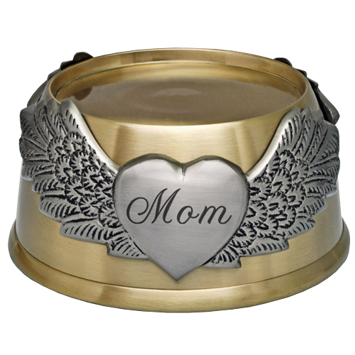 Wholesale Engraved Memorial Plaque- Round Urn Base with Wings