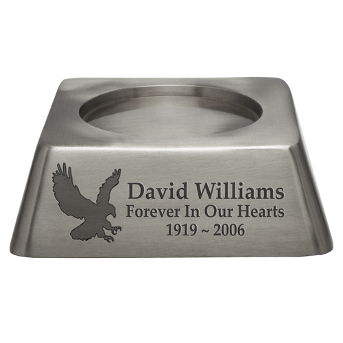 Wholesale Square Urn Base Matte Pewter Engravable