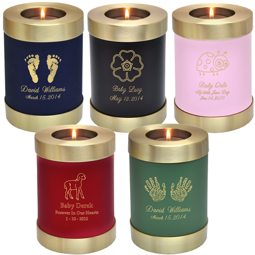 candle holder urns with different engraving designs and color choices