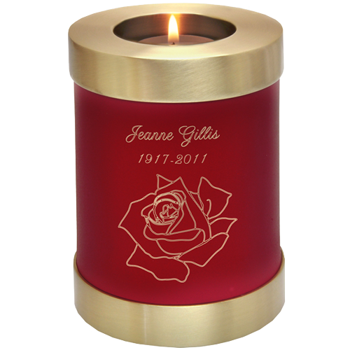 Scarlet Candle Holder Urn shown with rose engraving