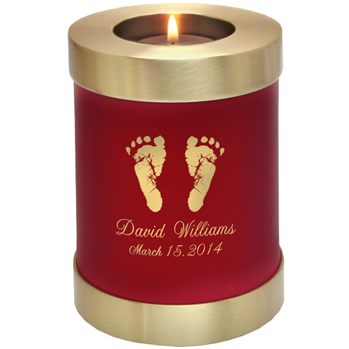 Wholesale Baby Urn: Scarlet Candle Holder Memorial- Actual Feet Pr