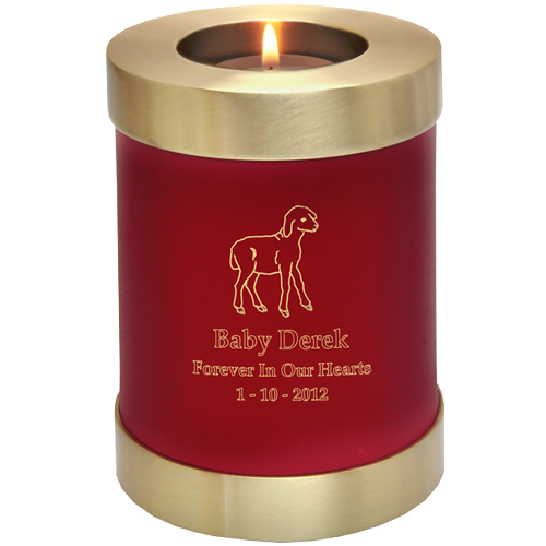 Wholesale Baby Urn: Scarlet Candle Holder Memorial shown with lamb clip art