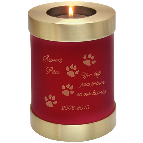 Wholesale Pet Urn: Scarlet Candle Cat Urn shown w/ candle & engraved