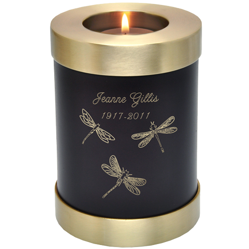 Wholesale Urn Keepsake: Brown Candle Holder Urn shown w/ candle & engraved