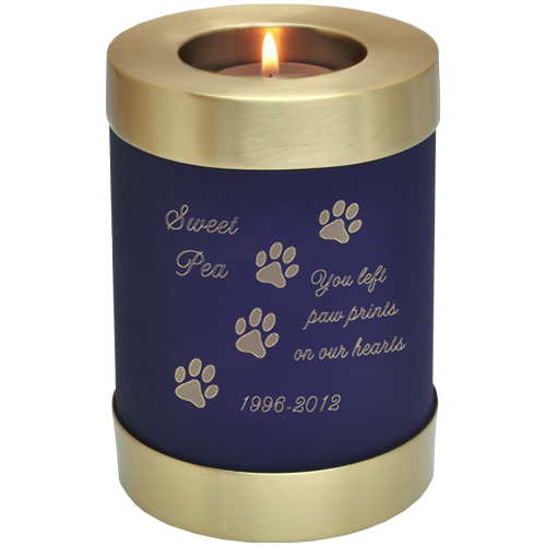 Wholesale Pet Urn: Blue Candle Holder Dog Urn shown w/ candle & engraved