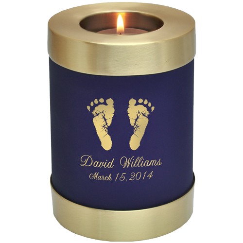Wholesale Baby Urn: Blue Nightfall Candle Holder Memorial- Actual Feet