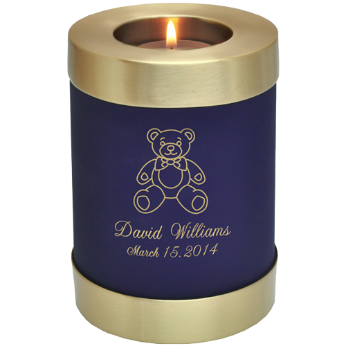 Wholesale Baby Urn: Blue Nightfall Candle Holder Memorial with teddy bear