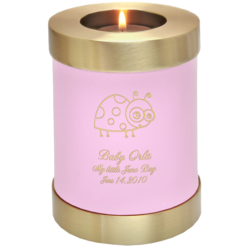 Wholesale Baby Urn: Pink Candle Holder Memorial with ladybug