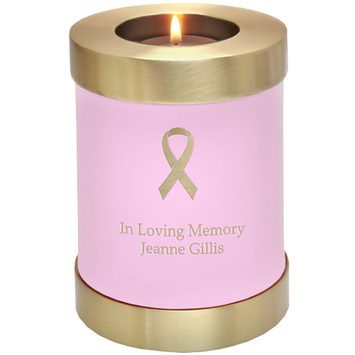 Pink Candle Holder Urn with memorial ribbon engraving
