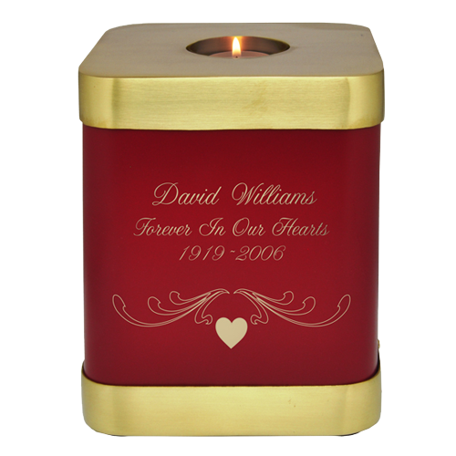 Wholesale Scarlet Brass Square Cremation Urn shown engraved