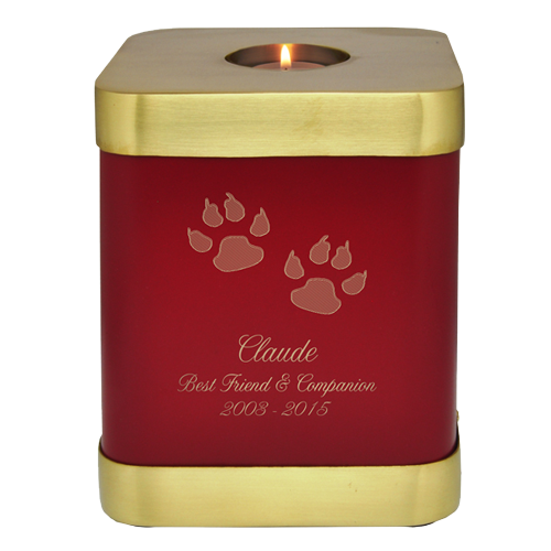 Wholesale Scarlet Brass Square Cat Cremation Urn