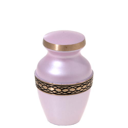 Pink mini urn with gold decorative band